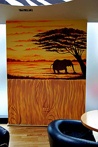 Mural Wall Painting of an African Elephant