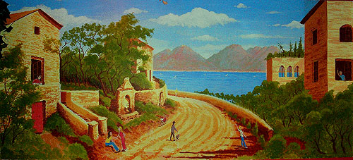 Wall Mural Painting of a typical Italian scene for Bellissimo Restaurant, Watford
