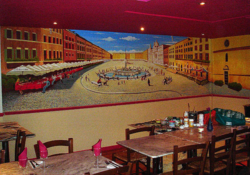 Wall Mural Painting of a Roman square for Bellissimo Restaurant, Watford