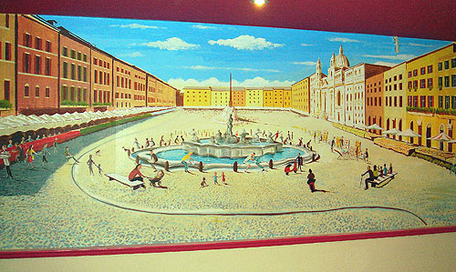 Detail of a Wall Mural Painting of a Roman square for Bellissimo Restaurant, Watford