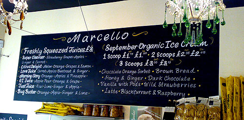 Menu Chalkboard Design for Marcello Deli, Chorleywood