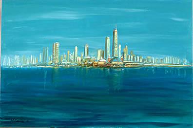 Painting of Chicago Skyline from Lake Michigan