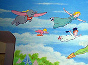 Peter Pan, Wendy, Tinker Bell and Dumbo Mural Painting