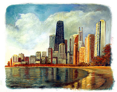 Painting of Hancock Tower and Lake Michigan Chicago