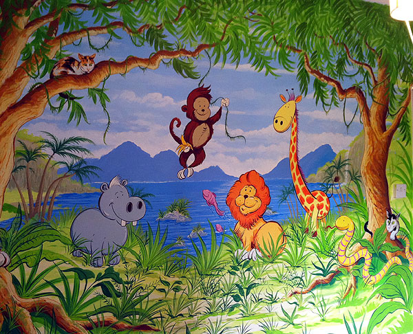 Cartoon Jungle Scene Jungle scene mural