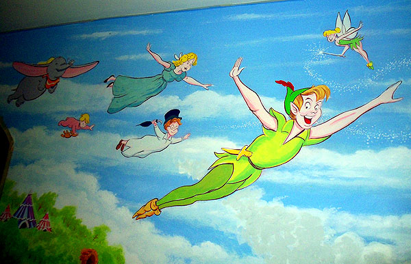 Childrens Wall Painting Peter Pan Theme, Bexley, Kent Part 12