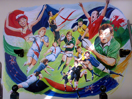 Rugby Mural Wall Painting for Colliers tup, London