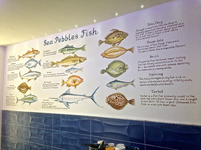 Fish Mural Sea Pepples Restaurant Hatch End