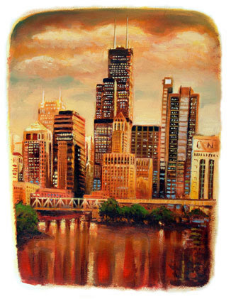Painting of Sears Tower Chicago