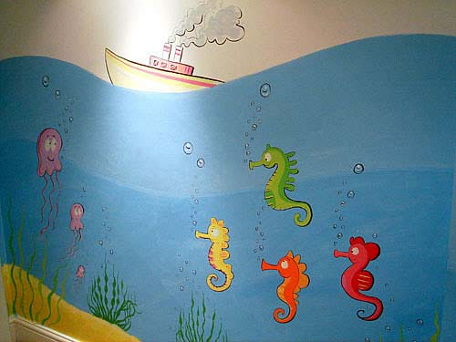 Childrens murals london wall paintings for childrens for Underwater mural ideas