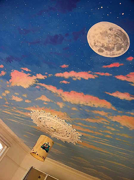 Ceiling Mural Painting of Moon and Night Sky