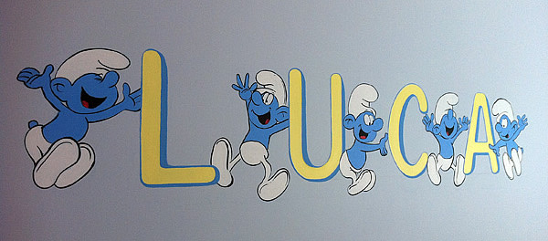 Smurfs Children's Mural Painting, Totteridge, London Pa