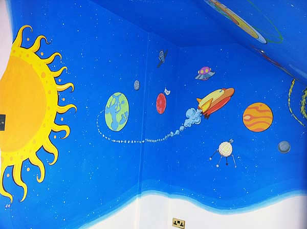 Space Theme Mural, Planets and Rockets, Mill Hill, London