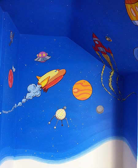 Child's Space Theme Mural, Shuttle Detail, Mill Hill, London