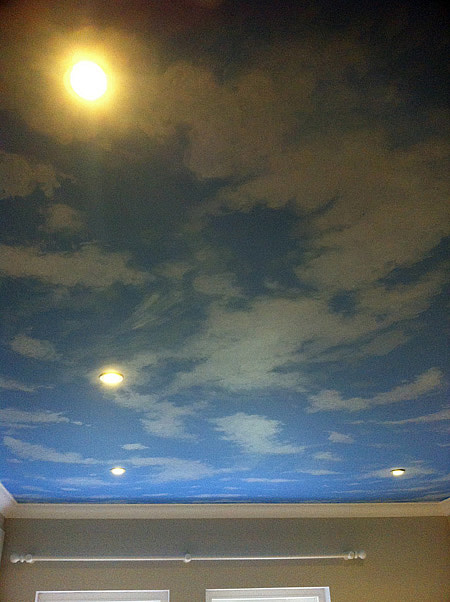 Murals wall paintings london by mural artist childrens for Ceiling sky mural