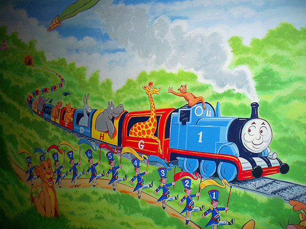childrens murals london wall paintings for childrens thomas the tank 3d wall and engine on pinterest
